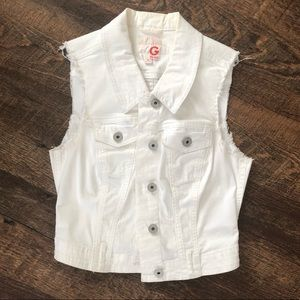G by Guess White Jean Vest
